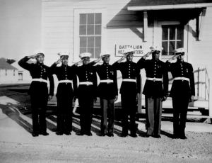 """... Although a dress uniform is not a part of the regular equipment, most of the Negro Marines spend $54 out of their pay for what is generally considered the snappiest uniform in the armed services... Photo shows a group of the Negro volunteers in their dress uniforms."" Ca. May 1943. Roger Smith. (Library of Congress Prints and Photographs Division)"